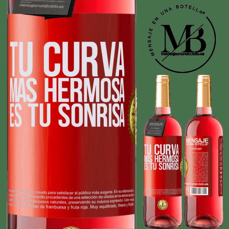 24,95 € Envoi gratuit | Vin rosé Édition ROSÉ Votre plus belle courbe est votre sourire Étiquette Rouge. Étiquette personnalisable Vin jeune Récolte 2020 Tempranillo