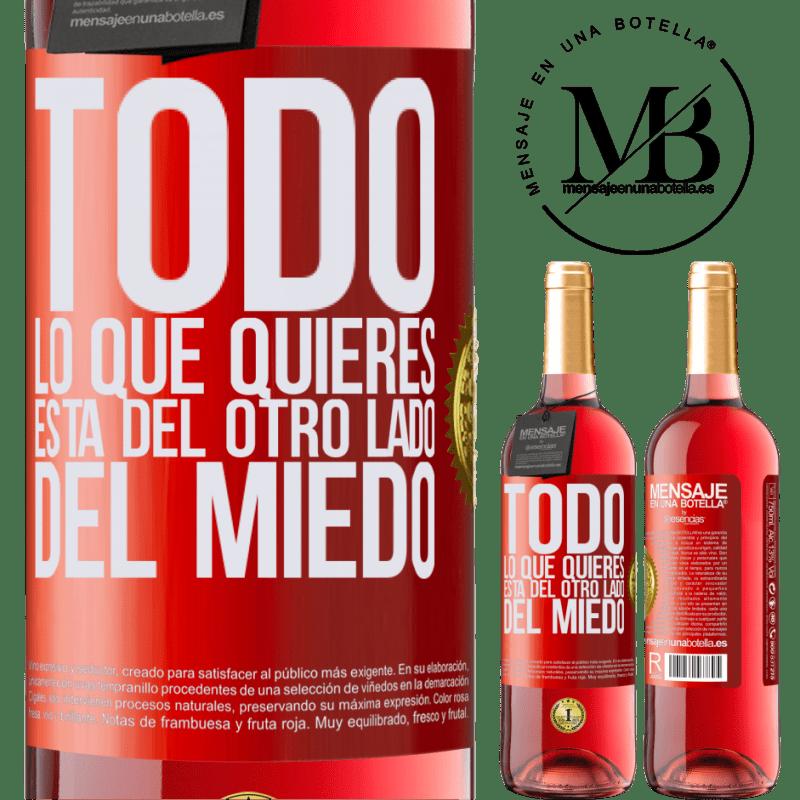 24,95 € Envoi gratuit   Vin rosé Édition ROSÉ Tout ce que tu veux est de l'autre côté de la peur Étiquette Rouge. Étiquette personnalisable Vin jeune Récolte 2020 Tempranillo