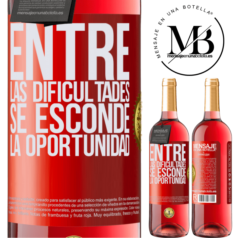 24,95 € Envoi gratuit   Vin rosé Édition ROSÉ Parmi les difficultés que l'opportunité cache Étiquette Rouge. Étiquette personnalisable Vin jeune Récolte 2020 Tempranillo