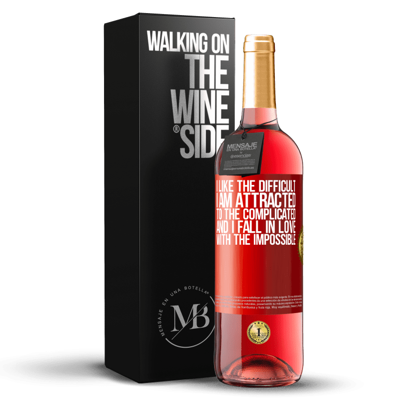 24,95 € Free Shipping   Rosé Wine ROSÉ Edition I like the difficult, I am attracted to the complicated, and I fall in love with the impossible Red Label. Customizable label Young wine Harvest 2020 Tempranillo