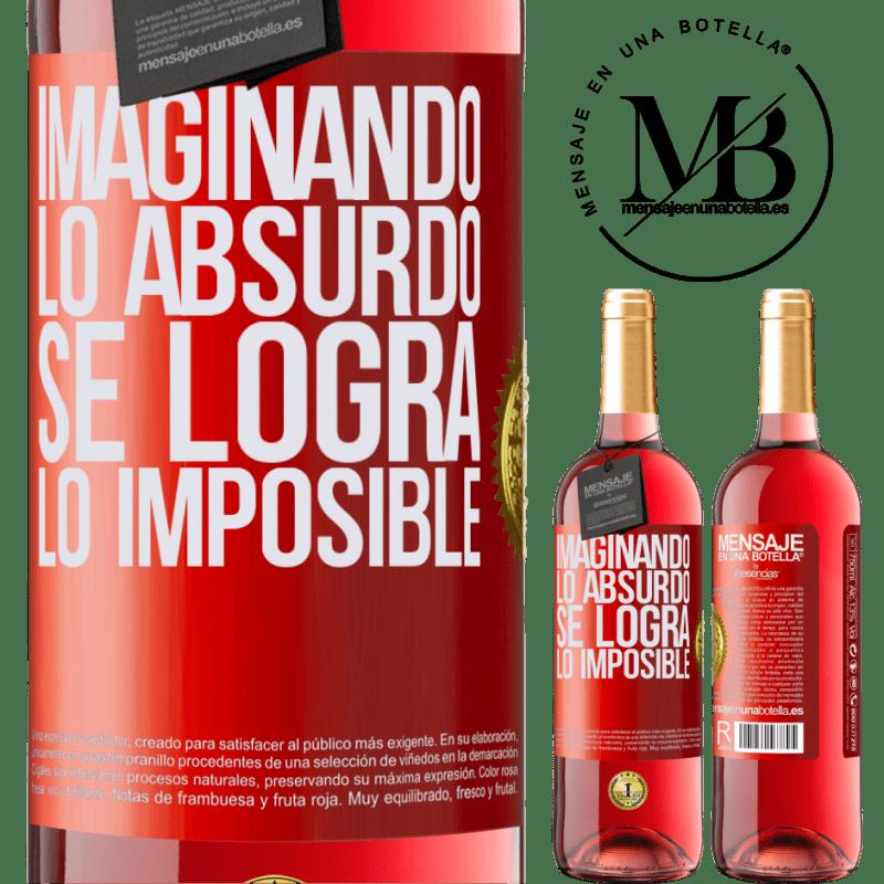 24,95 € Envoi gratuit   Vin rosé Édition ROSÉ Imaginer l'absurde réalise l'impossible Étiquette Rouge. Étiquette personnalisable Vin jeune Récolte 2020 Tempranillo