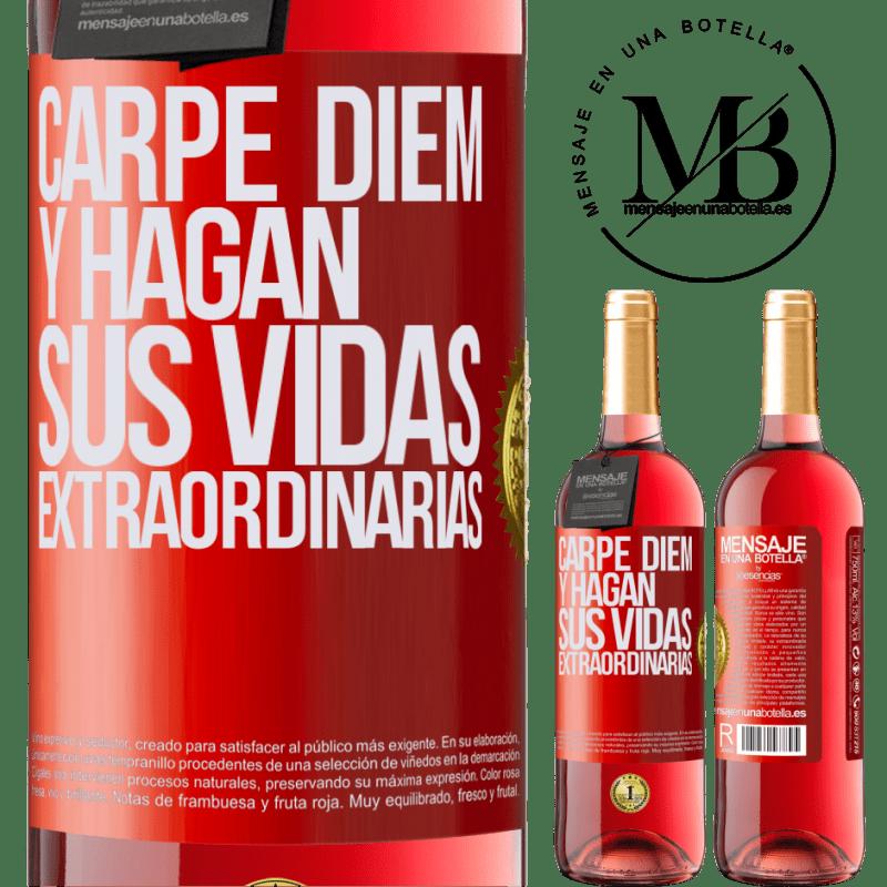 24,95 € Envoi gratuit | Vin rosé Édition ROSÉ Carpe Diem et rendre votre vie extraordinaire Étiquette Rouge. Étiquette personnalisable Vin jeune Récolte 2020 Tempranillo