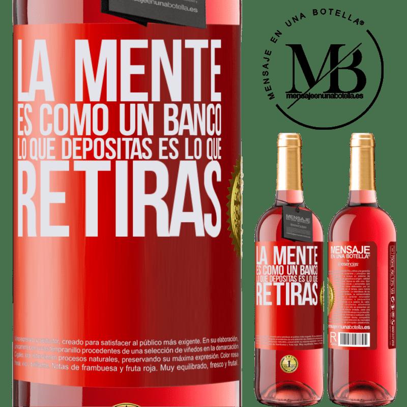 24,95 € Envoi gratuit   Vin rosé Édition ROSÉ L'esprit est comme une banque. Ce que vous déposez est ce que vous retirez Étiquette Rouge. Étiquette personnalisable Vin jeune Récolte 2020 Tempranillo