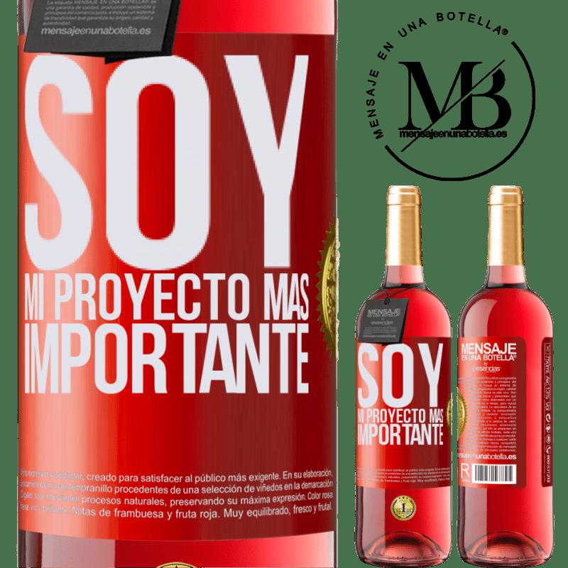 24,95 € Envoi gratuit | Vin rosé Édition ROSÉ Je suis mon projet le plus important Étiquette Rouge. Étiquette personnalisable Vin jeune Récolte 2020 Tempranillo