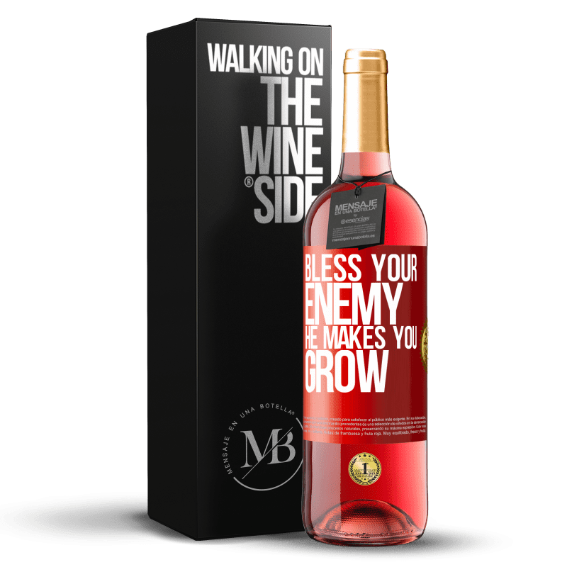 24,95 € Free Shipping   Rosé Wine ROSÉ Edition Bless your enemy. He makes you grow Red Label. Customizable label Young wine Harvest 2020 Tempranillo