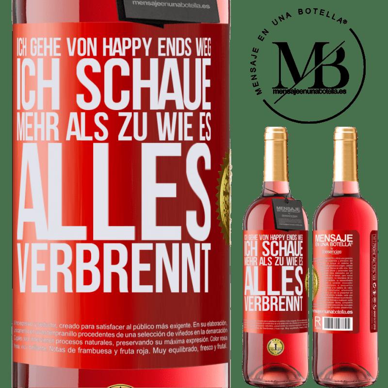 24,95 € Kostenloser Versand | Roséwein ROSÉ Ausgabe Ich gehe von Happy Ends weg, ich schaue mehr als zu, wie es alles verbrennt Rote Markierung. Anpassbares Etikett Junger Wein Ernte 2020 Tempranillo