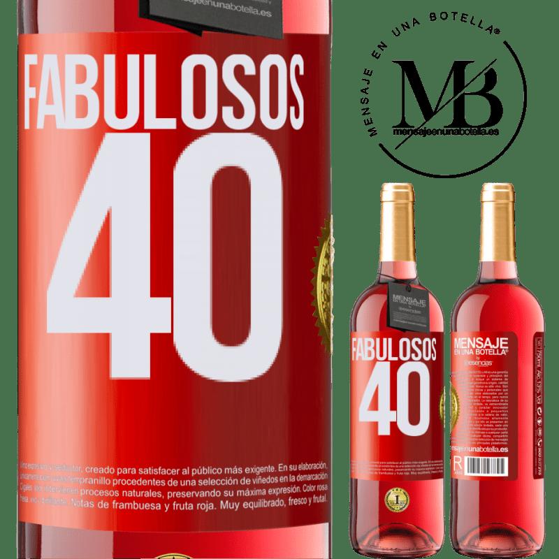 24,95 € Envoi gratuit | Vin rosé Édition ROSÉ Fabuleux 40 Étiquette Rouge. Étiquette personnalisable Vin jeune Récolte 2020 Tempranillo