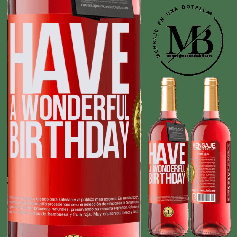 24,95 € Envoi gratuit   Vin rosé Édition ROSÉ Bon anniversaire Étiquette Rouge. Étiquette personnalisable Vin jeune Récolte 2020 Tempranillo