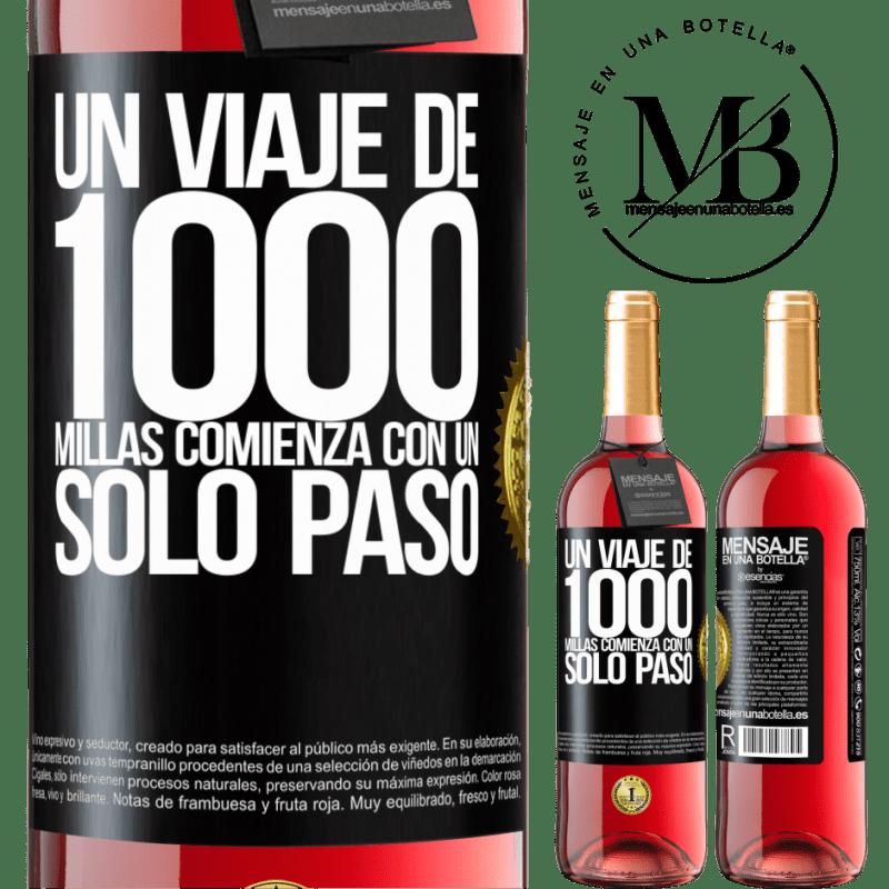 24,95 € Envoi gratuit | Vin rosé Édition ROSÉ Un voyage de mille kilomètres commence par une seule étape Étiquette Noire. Étiquette personnalisable Vin jeune Récolte 2020 Tempranillo