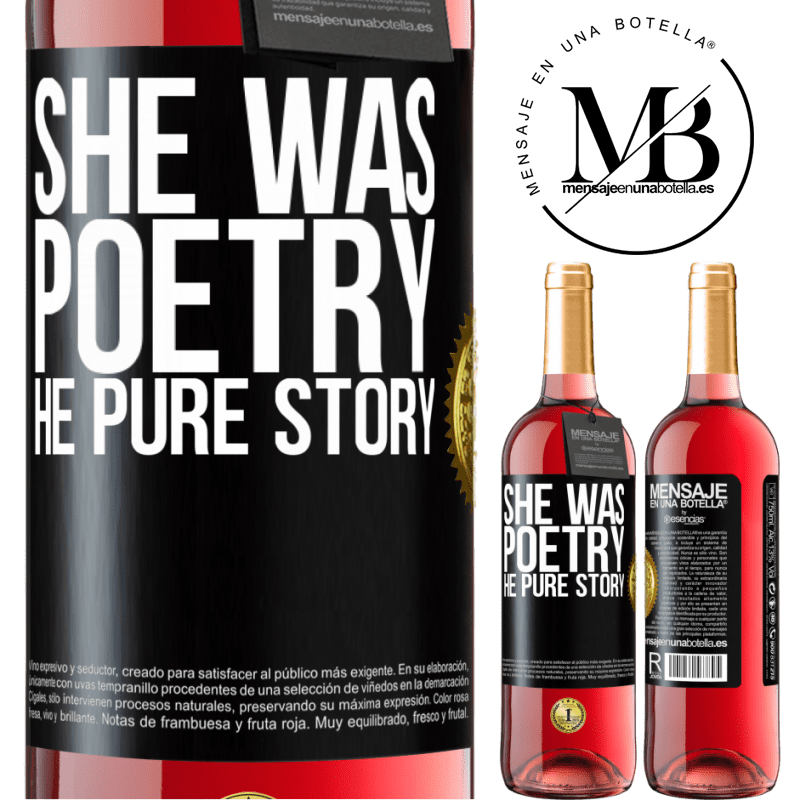 24,95 € Free Shipping   Rosé Wine ROSÉ Edition She was poetry, he pure story Black Label. Customizable label Young wine Harvest 2020 Tempranillo