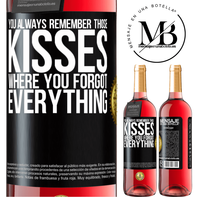 24,95 € Free Shipping | Rosé Wine ROSÉ Edition You always remember those kisses where you forgot everything Black Label. Customizable label Young wine Harvest 2020 Tempranillo