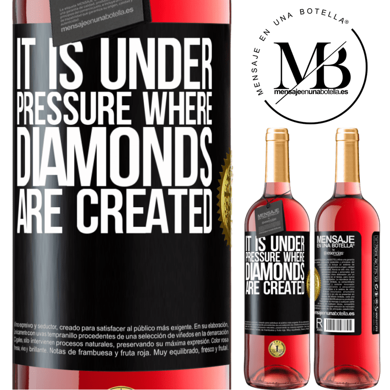 24,95 € Free Shipping | Rosé Wine ROSÉ Edition It is under pressure where diamonds are created Black Label. Customizable label Young wine Harvest 2020 Tempranillo