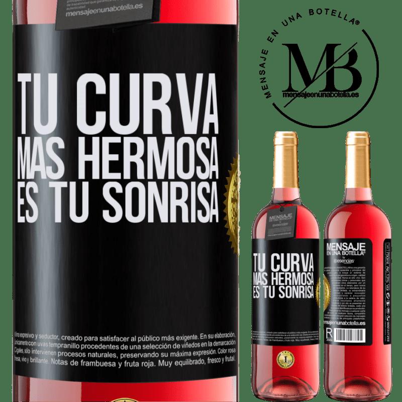 24,95 € Envoi gratuit | Vin rosé Édition ROSÉ Votre plus belle courbe est votre sourire Étiquette Noire. Étiquette personnalisable Vin jeune Récolte 2020 Tempranillo
