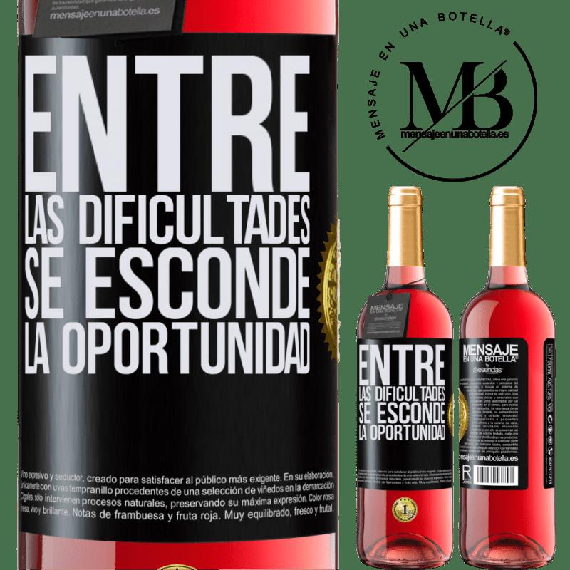 24,95 € Envoi gratuit   Vin rosé Édition ROSÉ Parmi les difficultés que l'opportunité cache Étiquette Noire. Étiquette personnalisable Vin jeune Récolte 2020 Tempranillo