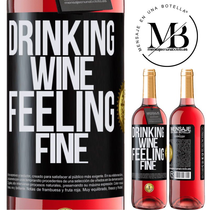 24,95 € Envoi gratuit | Vin rosé Édition ROSÉ Drinking wine, feeling fine Étiquette Noire. Étiquette personnalisable Vin jeune Récolte 2020 Tempranillo