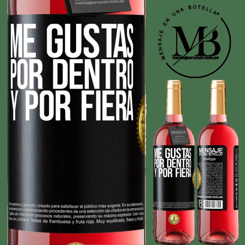 24,95 € Envoi gratuit   Vin rosé Édition ROSÉ Je t'aime à l'intérieur comme à l'extérieur Étiquette Noire. Étiquette personnalisable Vin jeune Récolte 2020 Tempranillo