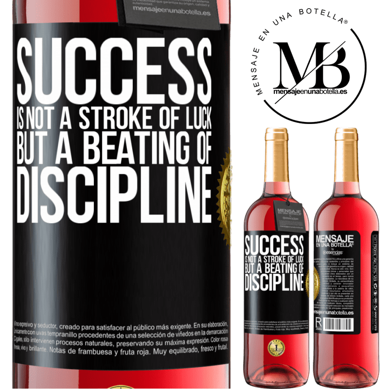 24,95 € Free Shipping | Rosé Wine ROSÉ Edition Success is not a stroke of luck, but a beating of discipline Black Label. Customizable label Young wine Harvest 2020 Tempranillo