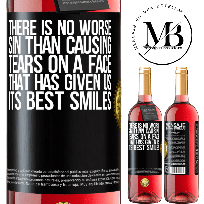 24,95 € Free Shipping   Rosé Wine ROSÉ Edition There is no worse sin than causing tears on a face that has given us its best smiles Black Label. Customizable label Young wine Harvest 2020 Tempranillo