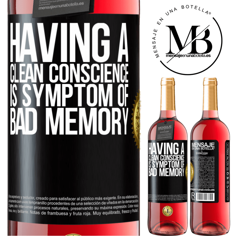 24,95 € Free Shipping | Rosé Wine ROSÉ Edition Having a clean conscience is symptom of bad memory Black Label. Customizable label Young wine Harvest 2020 Tempranillo