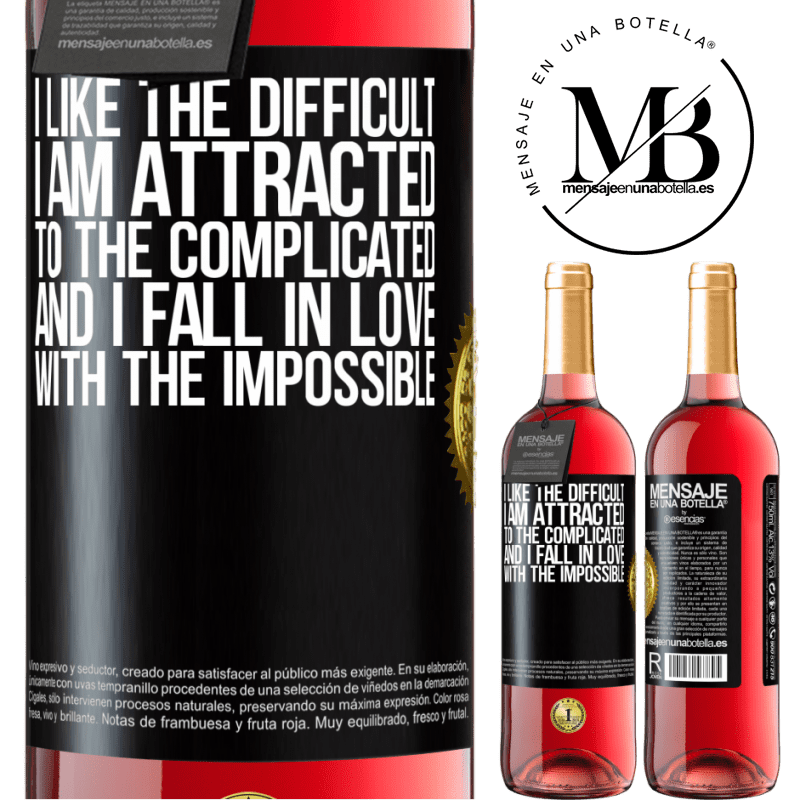 24,95 € Free Shipping   Rosé Wine ROSÉ Edition I like the difficult, I am attracted to the complicated, and I fall in love with the impossible Black Label. Customizable label Young wine Harvest 2020 Tempranillo