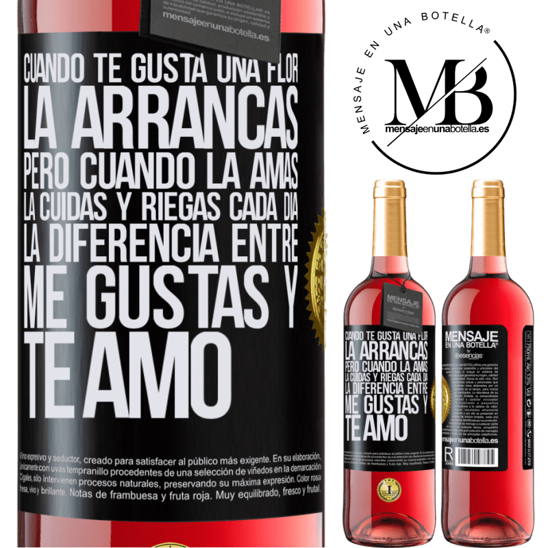 24,95 € Envoi gratuit | Vin rosé Édition ROSÉ Lorsque vous aimez une fleur, vous l'arrachez. Mais quand vous l'aimez, vous prenez soin d'elle et l'arrosez tous les jours Étiquette Noire. Étiquette personnalisable Vin jeune Récolte 2020 Tempranillo