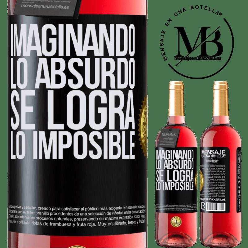 24,95 € Envoi gratuit   Vin rosé Édition ROSÉ Imaginer l'absurde réalise l'impossible Étiquette Noire. Étiquette personnalisable Vin jeune Récolte 2020 Tempranillo