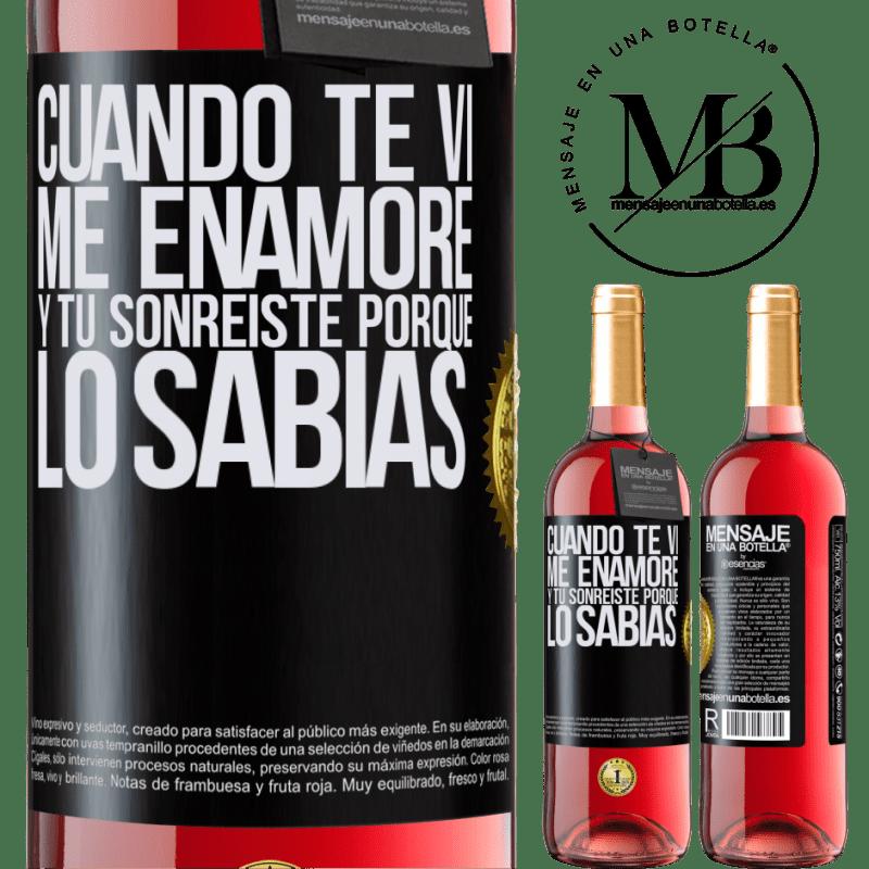 24,95 € Envoi gratuit   Vin rosé Édition ROSÉ Quand je t'ai vu, je suis tombé amoureux, et tu as souri parce que tu le savais Étiquette Noire. Étiquette personnalisable Vin jeune Récolte 2020 Tempranillo