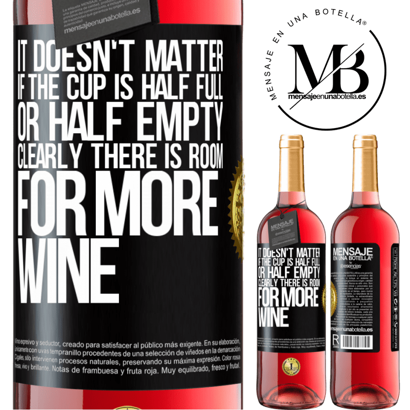 24,95 € Free Shipping | Rosé Wine ROSÉ Edition It doesn't matter if the cup is half full or half empty. Clearly there is room for more wine Black Label. Customizable label Young wine Harvest 2020 Tempranillo