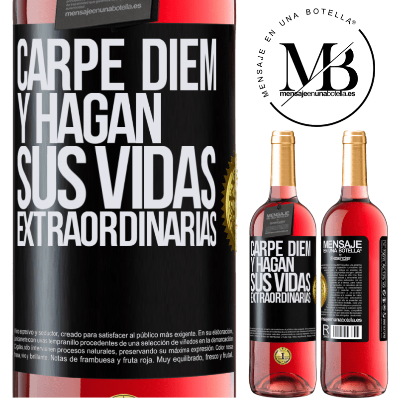 24,95 € Envoi gratuit | Vin rosé Édition ROSÉ Carpe Diem et rendre votre vie extraordinaire Étiquette Noire. Étiquette personnalisable Vin jeune Récolte 2020 Tempranillo