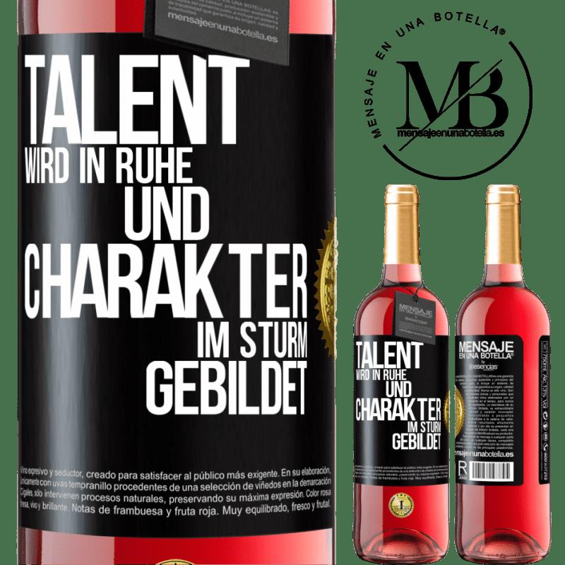 24,95 € Kostenloser Versand | Roséwein ROSÉ Ausgabe Talent wird in Ruhe und Charakter im Sturm erzogen Schwarzes Etikett. Anpassbares Etikett Junger Wein Ernte 2020 Tempranillo