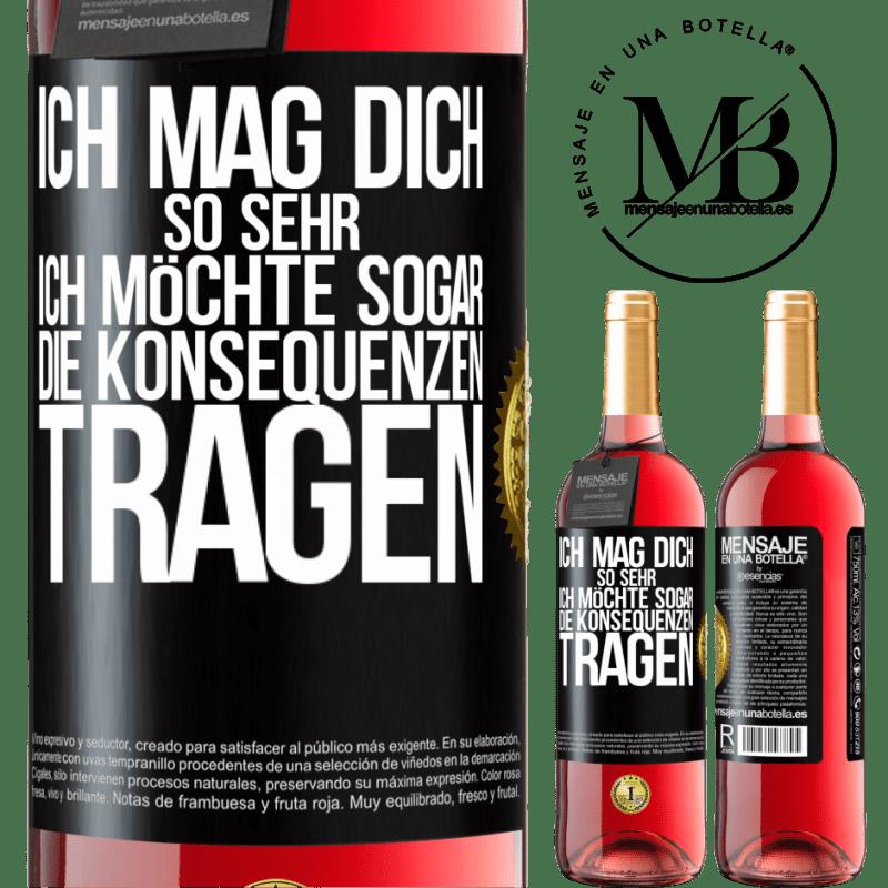 24,95 € Kostenloser Versand | Roséwein ROSÉ Ausgabe Ich möchte, dass Sie die Konsequenzen tragen Schwarzes Etikett. Anpassbares Etikett Junger Wein Ernte 2020 Tempranillo