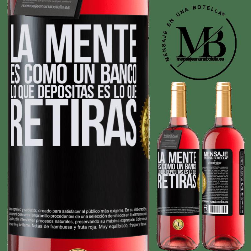 24,95 € Envoi gratuit   Vin rosé Édition ROSÉ L'esprit est comme une banque. Ce que vous déposez est ce que vous retirez Étiquette Noire. Étiquette personnalisable Vin jeune Récolte 2020 Tempranillo