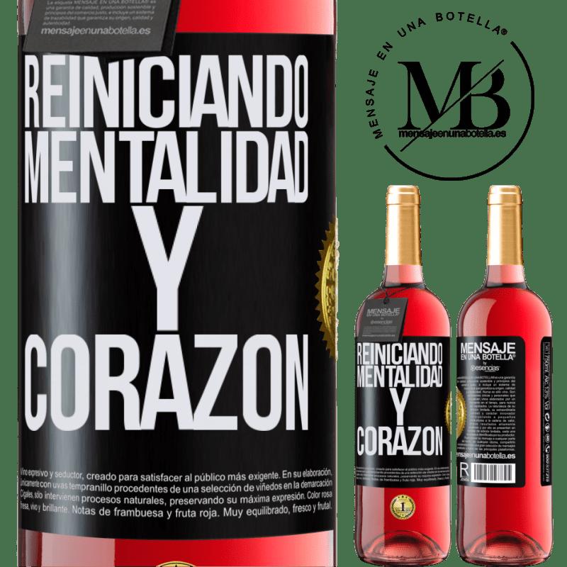24,95 € Envoi gratuit   Vin rosé Édition ROSÉ Réinitialisation de la mentalité et du cœur Étiquette Noire. Étiquette personnalisable Vin jeune Récolte 2020 Tempranillo