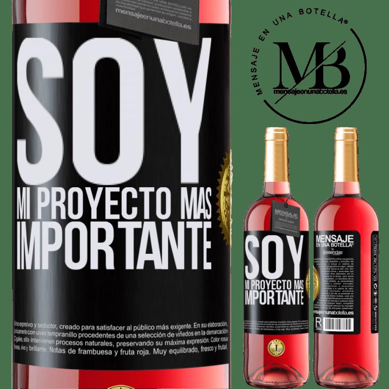 24,95 € Envoi gratuit | Vin rosé Édition ROSÉ Je suis mon projet le plus important Étiquette Noire. Étiquette personnalisable Vin jeune Récolte 2020 Tempranillo