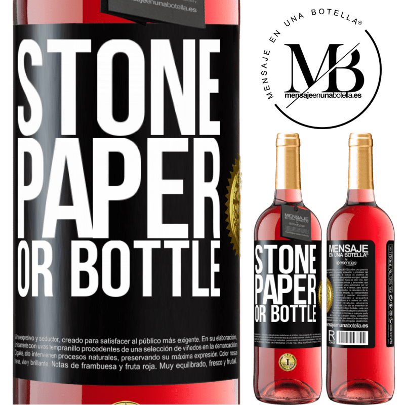 24,95 € Free Shipping | Rosé Wine ROSÉ Edition Stone, paper or bottle Black Label. Customizable label Young wine Harvest 2020 Tempranillo