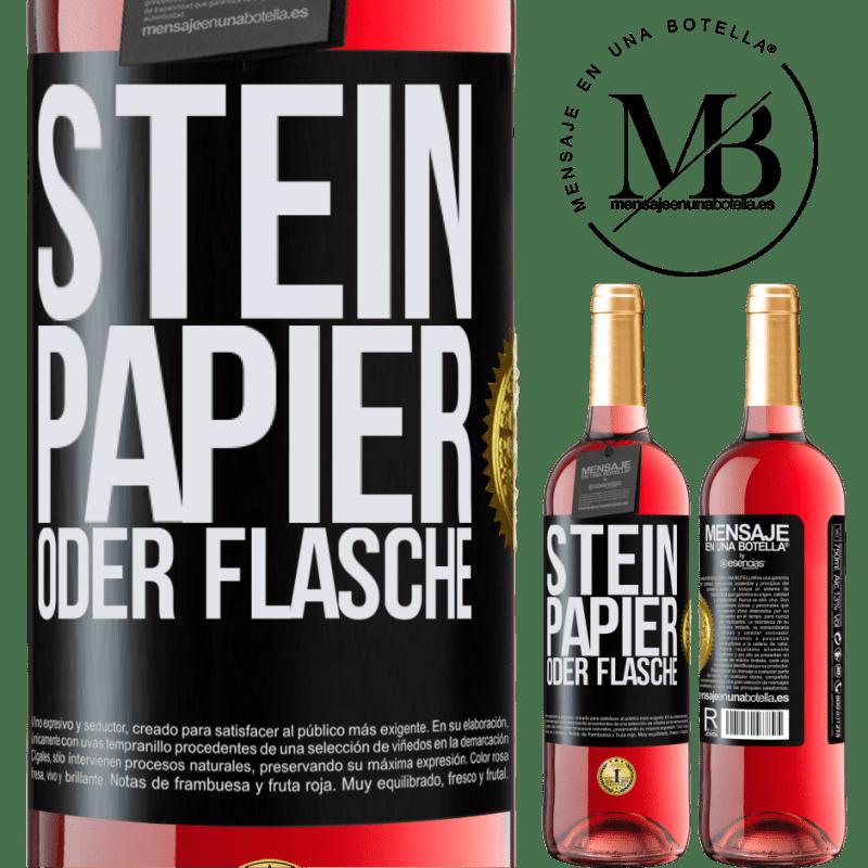 24,95 € Kostenloser Versand | Roséwein ROSÉ Ausgabe Stein, Papier oder Flasche Schwarzes Etikett. Anpassbares Etikett Junger Wein Ernte 2020 Tempranillo