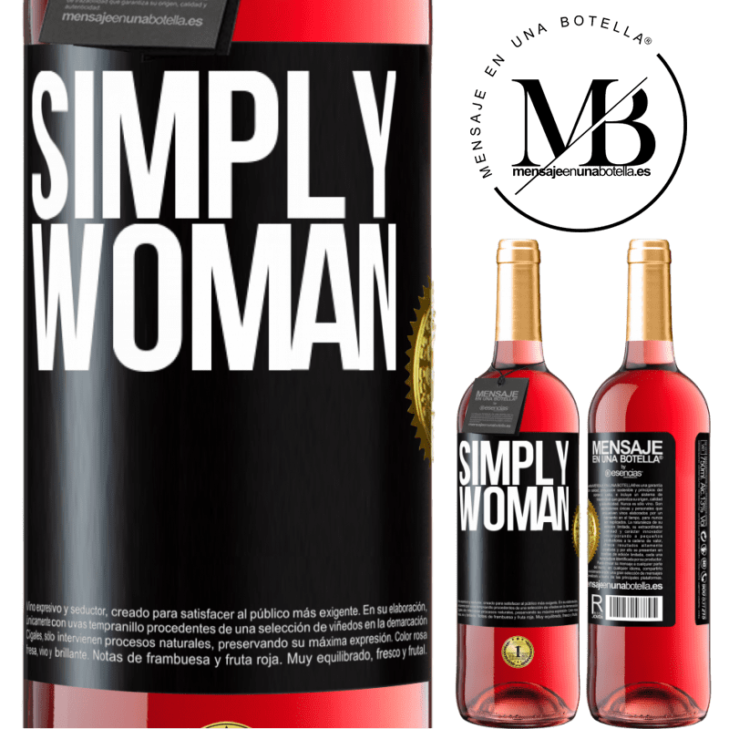 24,95 € Free Shipping | Rosé Wine ROSÉ Edition Simply woman Black Label. Customizable label Young wine Harvest 2020 Tempranillo