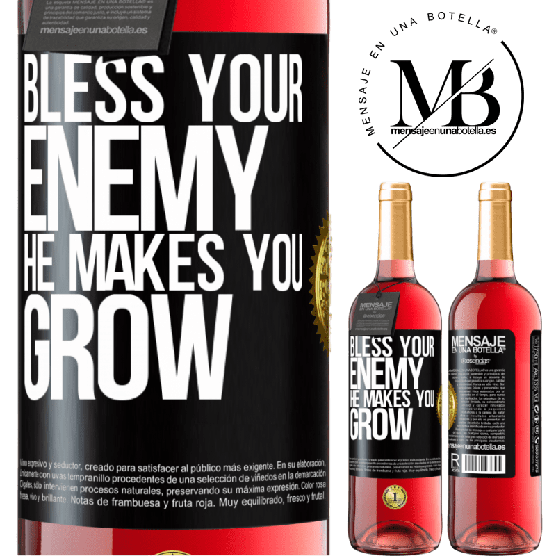 24,95 € Free Shipping   Rosé Wine ROSÉ Edition Bless your enemy. He makes you grow Black Label. Customizable label Young wine Harvest 2020 Tempranillo