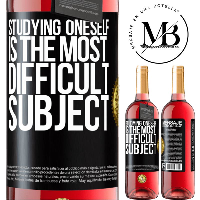 24,95 € Free Shipping | Rosé Wine ROSÉ Edition Studying oneself is the most difficult subject Black Label. Customizable label Young wine Harvest 2020 Tempranillo
