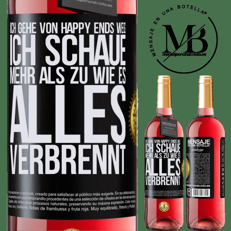 24,95 € Kostenloser Versand | Roséwein ROSÉ Ausgabe Ich gehe von Happy Ends weg, ich schaue mehr als zu, wie es alles verbrennt Schwarzes Etikett. Anpassbares Etikett Junger Wein Ernte 2020 Tempranillo