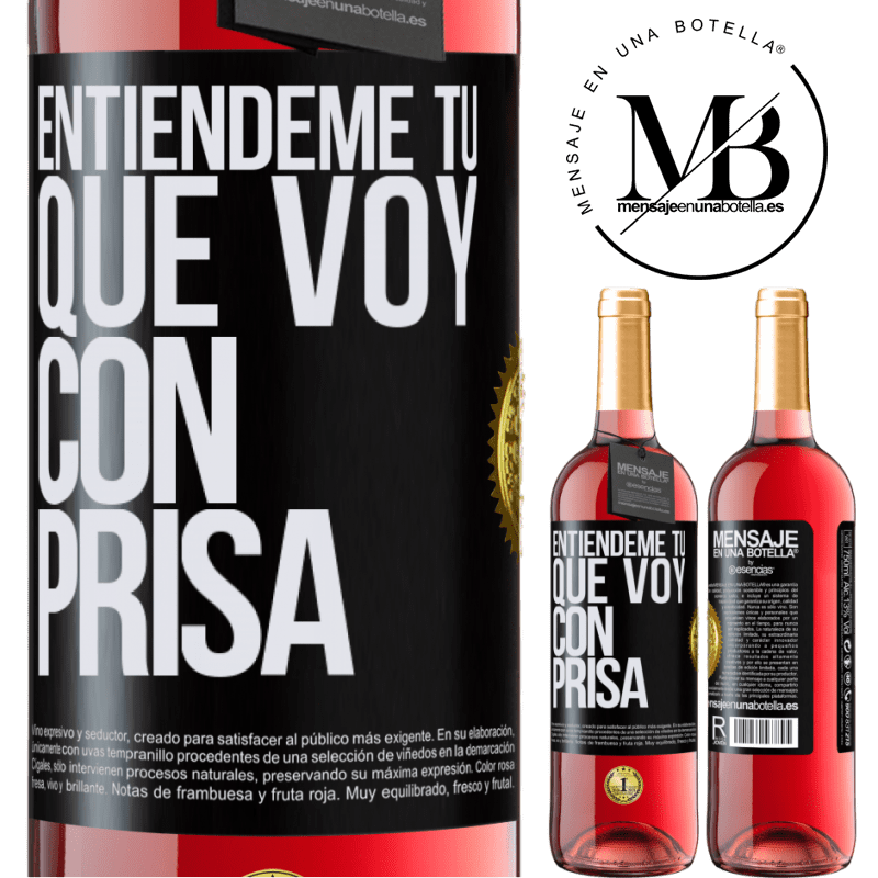 24,95 € Envoi gratuit   Vin rosé Édition ROSÉ Comprenez-moi, je vais vite Étiquette Noire. Étiquette personnalisable Vin jeune Récolte 2020 Tempranillo