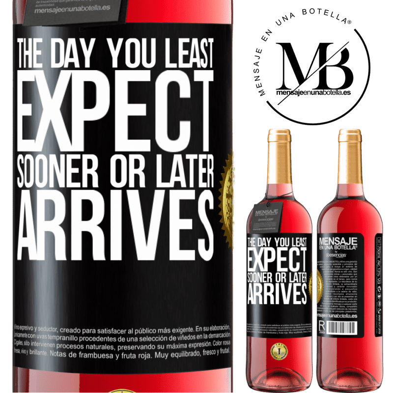 24,95 € Free Shipping | Rosé Wine ROSÉ Edition The day you least expect, sooner or later arrives Black Label. Customizable label Young wine Harvest 2020 Tempranillo
