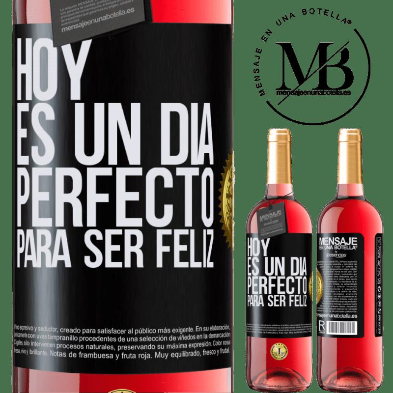 24,95 € Envoi gratuit | Vin rosé Édition ROSÉ Aujourd'hui est une journée parfaite pour être heureux Étiquette Noire. Étiquette personnalisable Vin jeune Récolte 2020 Tempranillo