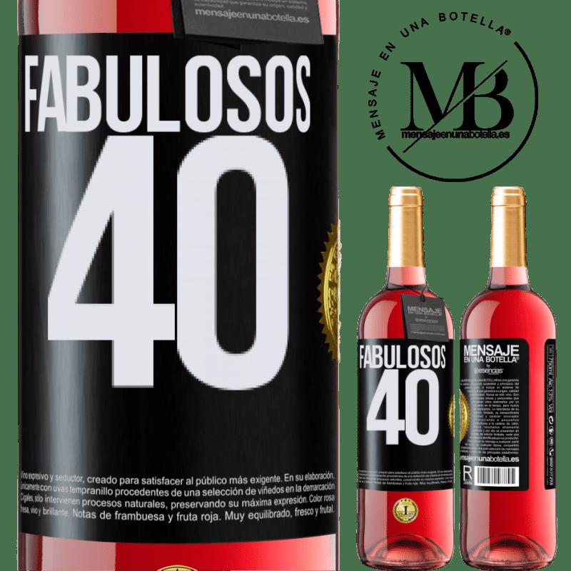 24,95 € Envoi gratuit | Vin rosé Édition ROSÉ Fabuleux 40 Étiquette Noire. Étiquette personnalisable Vin jeune Récolte 2020 Tempranillo