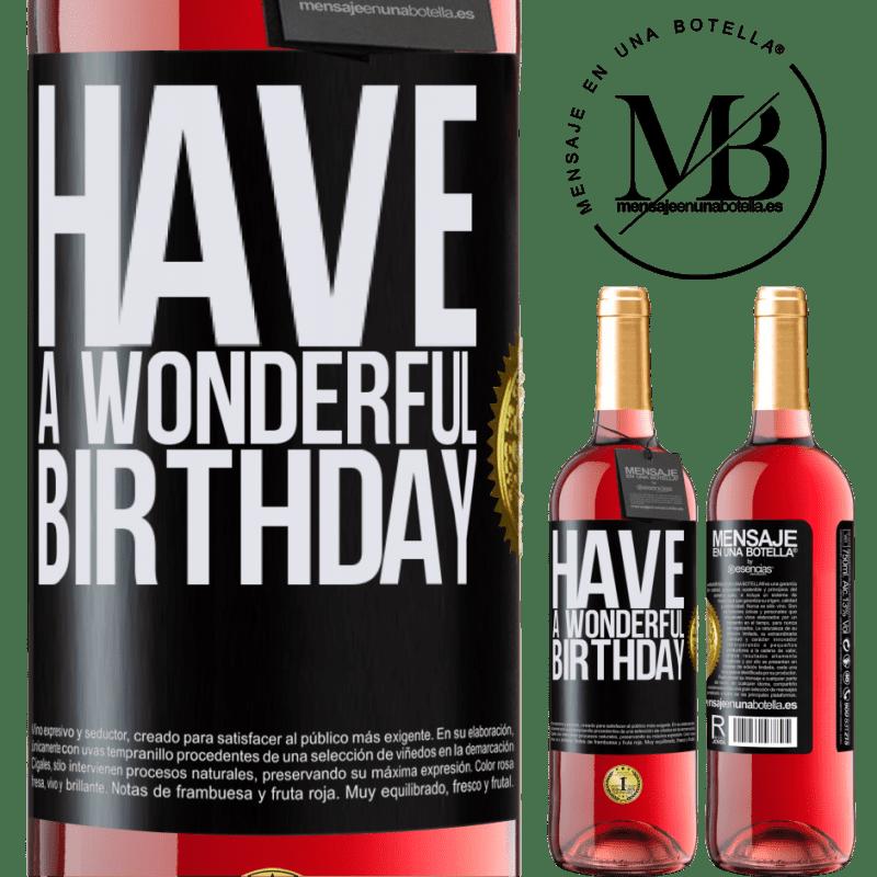 24,95 € Envoi gratuit   Vin rosé Édition ROSÉ Bon anniversaire Étiquette Noire. Étiquette personnalisable Vin jeune Récolte 2020 Tempranillo