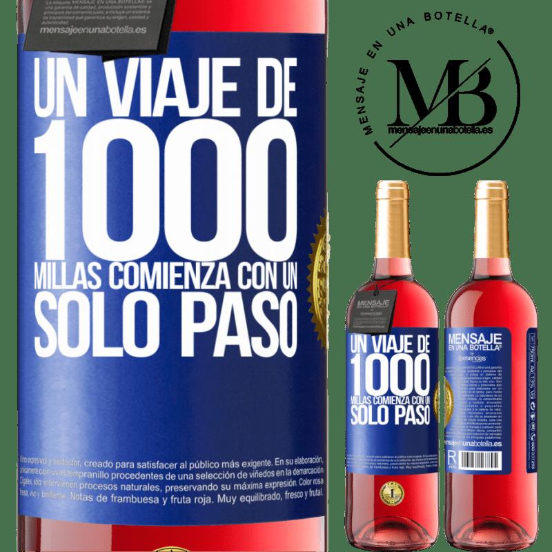 24,95 € Envoi gratuit | Vin rosé Édition ROSÉ Un voyage de mille kilomètres commence par une seule étape Étiquette Bleue. Étiquette personnalisable Vin jeune Récolte 2020 Tempranillo