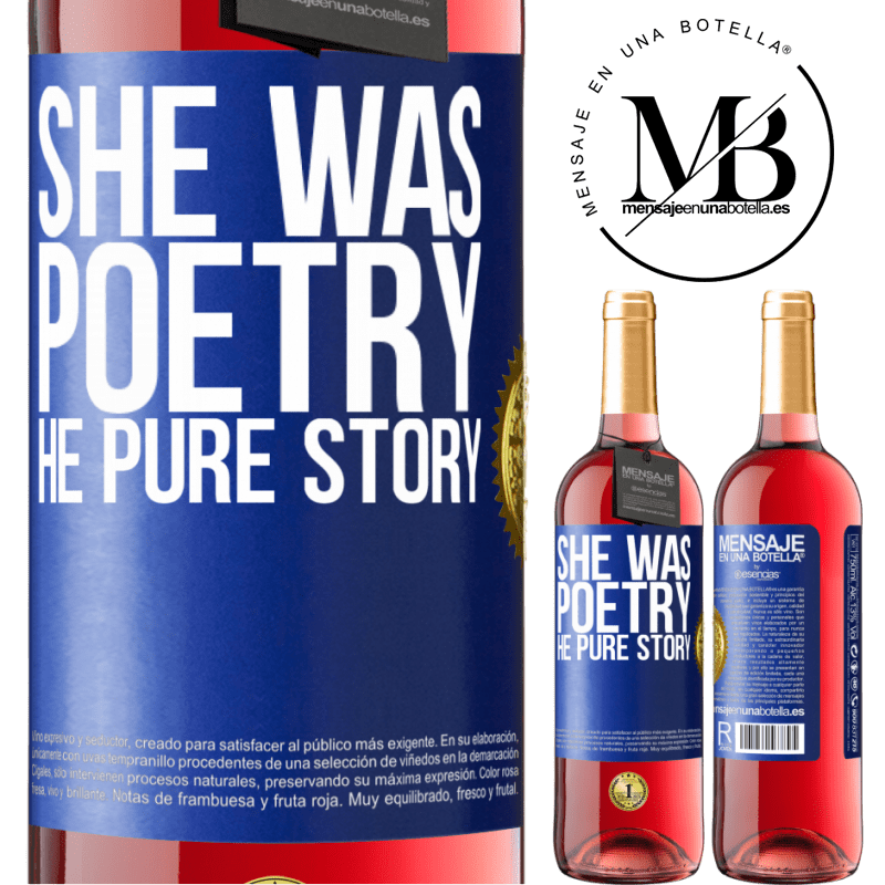 24,95 € Free Shipping   Rosé Wine ROSÉ Edition She was poetry, he pure story Blue Label. Customizable label Young wine Harvest 2020 Tempranillo
