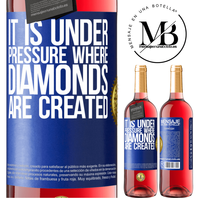 24,95 € Free Shipping | Rosé Wine ROSÉ Edition It is under pressure where diamonds are created Blue Label. Customizable label Young wine Harvest 2020 Tempranillo