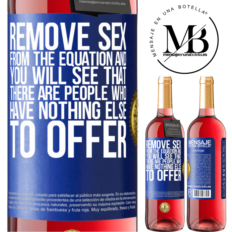 24,95 € Free Shipping | Rosé Wine ROSÉ Edition Remove sex from the equation and you will see that there are people who have nothing else to offer Blue Label. Customizable label Young wine Harvest 2020 Tempranillo