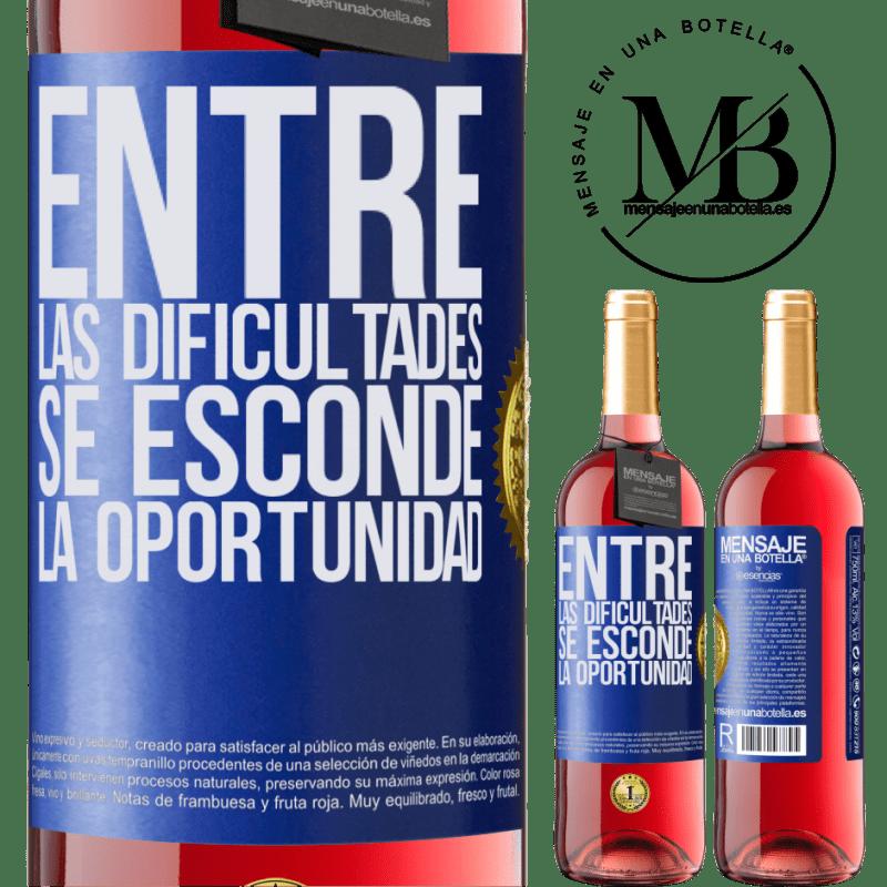 24,95 € Envoi gratuit   Vin rosé Édition ROSÉ Parmi les difficultés que l'opportunité cache Étiquette Bleue. Étiquette personnalisable Vin jeune Récolte 2020 Tempranillo